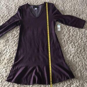 Simply Styled Dresses - Plum purple Gray stripe ruffle hem dress M NWT